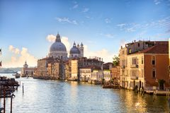 Grand Canal and Basilica Santa Maria della Salute. Early morning in Venice Stock Photo