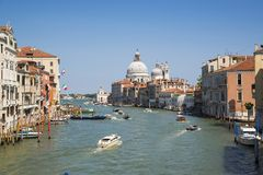 The Grand Canal and the Basilica of Santa Maria della Salute, Ve Royalty Free Stock Photos