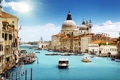 Grand Canal and Basilica Santa Maria della Salute Stock Photos