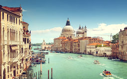 Grand Canal and Basilica Santa Maria della Salute, Venice Stock Photography