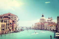 Grand Canal and Basilica Santa Maria della Salute Stock Photos