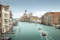 Grand Canal and Basilica Santa Maria della Salute Stock Images