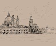 Grand canal and Basilica Santa Maria della Salute, Venice, Italy. Ink. Digital Sketch Hand Drawing. Vector. Illustration Royalty Free Stock Images
