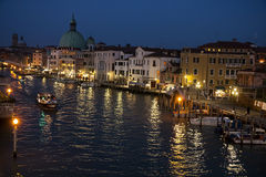 Grand Canal and Basilica Santa Maria della Salute, Venice, in the night Royalty Free Stock Photos