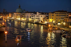 Grand Canal and Basilica Santa Maria della Salute, Venice, in the night Royalty Free Stock Images