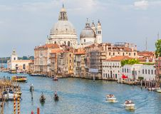 Grand Canal and Basilica on sunny day, Venice Stock Photo