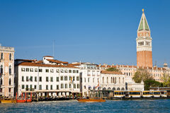 Grand Canal and bell tower, Venice Royalty Free Stock Photos