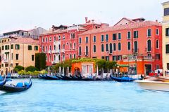 Grand canal with boats Stock Photo