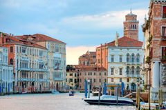 Grand Canal with boats in Venice Royalty Free Stock Photo