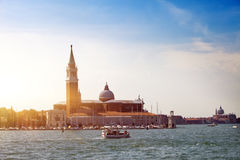 Grand Canal with boats , Venice, Italy Royalty Free Stock Photo