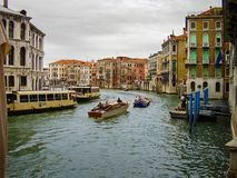 Grand Canal, canale navigabile principale di Venezia, Italia immagine stock libera da diritti