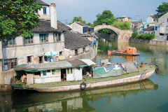 Grand Canal through the center of Wuxi, Jiangsu province, China Stock Image