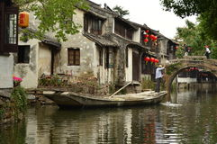 Grand Canal chez Zhouzhuang, Chine Photographie stock libre de droits