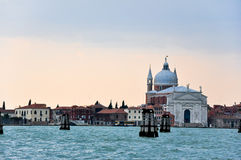 The Grand Canal and Church of San Giorgio Maggiore in the evening in Venice, Italy. Stock Photography