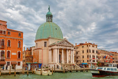 Grand Canal in cloudy day, Venice, Italy. Royalty Free Stock Image