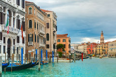 Grand Canal in cloudy day, Venice, Italy. Stock Photos