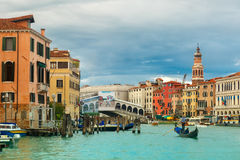 Grand Canal in cloudy day, Venice, Italy. Stock Images