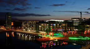 Grand Canal Dock Dublin. Nightshot of Dublin's recently built new district the Grand Canal dock, a place of modern glass and steel buildings offices restaurants Royalty Free Stock Photo