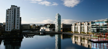 Grand Canal Dock Dublin. Picture taken of the Dublin's newly built modern district the Grand Canal Dock, a place for offices, the Grand Canal theatre by the Stock Photo