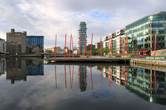 Grand Canal Dock Dublin. Offices and apartments reflected in Grand Canal Dock, Dublin city Stock Photo