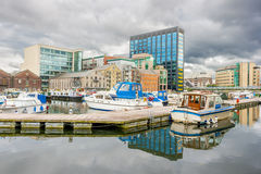 Grand Canal dock in Dublin Royalty Free Stock Photography