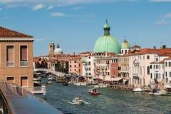 Grand Canal, Dome of San Simeon Piccolo`s Church and Ponte degli. Scalzi in Venice - Italy royalty free stock photo