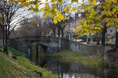 Grand Canal in Dublin, Ireland on an autumn day