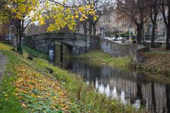 Grand Canal in Dublin, Ireland on an autumn day stock photography