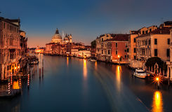 Grand Canal at dusk in Venice, Italy Royalty Free Stock Photo