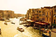 Grand Canal em cores do vintage, Veneza foto de stock royalty free