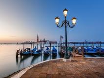 Grand Canal Embankment and San Giorgio Maggiore Church at Dawn Stock Image