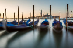 Grand Canal Embankment and San Giorgio Maggiore Church at Dawn Royalty Free Stock Photos