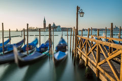 Grand Canal Embankment and San Giorgio Maggiore Church at Dawn Stock Image