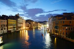 Grand Canal in the evening, Venice, Italy, Europe Stock Photos