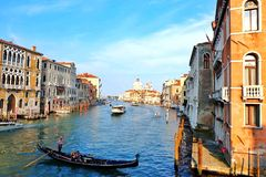 Grand Canal. The Famous Grand Canal in Venice , Italy. View taken from Accademia Bridge..Amazing & Picturesque view Stock Images