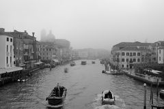 Grand Canal in fog. Foggy morning on the Grand Canal in Venice, Italy Royalty Free Stock Photos