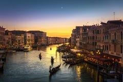 Grand Canal från den Rialto bron, Venedig Royaltyfria Foton