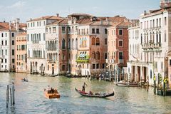 Grand Canal with Gondola in Venice. Horizontal Royalty Free Stock Image
