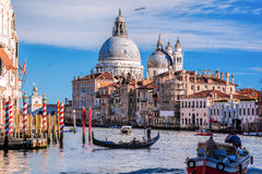 Grand Canal with gondola in Venice, Italy Royalty Free Stock Photos