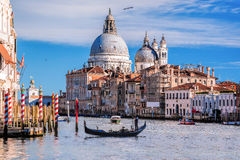 Grand Canal with gondola in Venice, Italy Stock Images