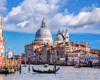 Grand Canal with gondola in Venice, Italy Royalty Free Stock Images