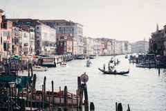 Grand Canal with Gondolas in Venice Royalty Free Stock Photography