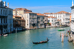 Grand Canal with historic buildings in Venice - Italy Royalty Free Stock Photography