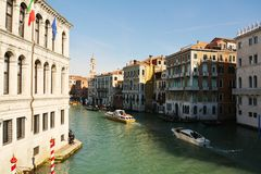 Grand Canal and historical buildings, Venice, Italy, Europe Stock Photos