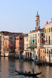 Grand Canal. The Grand Canal is almost 4 km in length, slides from the northwest tip of Venice, where the access to land, to the basin of San Marco, in the Stock Image