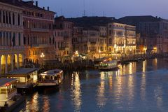 Grand Canal Lights at Night, Venice. Royalty Free Stock Photo