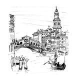 Grand Canal near bridge Rialto in Venice, Italia. Grand Canal near bridge Ponte di Rialto in sketch style, Venice, Italy. Picture made liner stock illustration