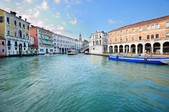 Grand Canal near Rialto bridge Stock Images