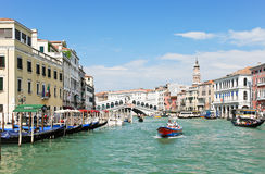 Grand Canal near Rialto Bridge in Venice Royalty Free Stock Photos