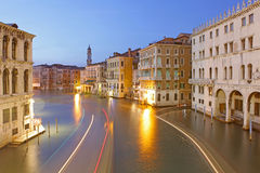 Grand Canal at night taken in Venice Stock Photography